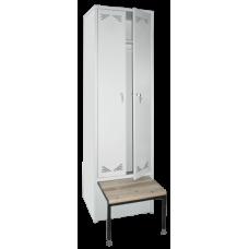 Шкаф металлический для одежды ШО-2С (со скамьей)